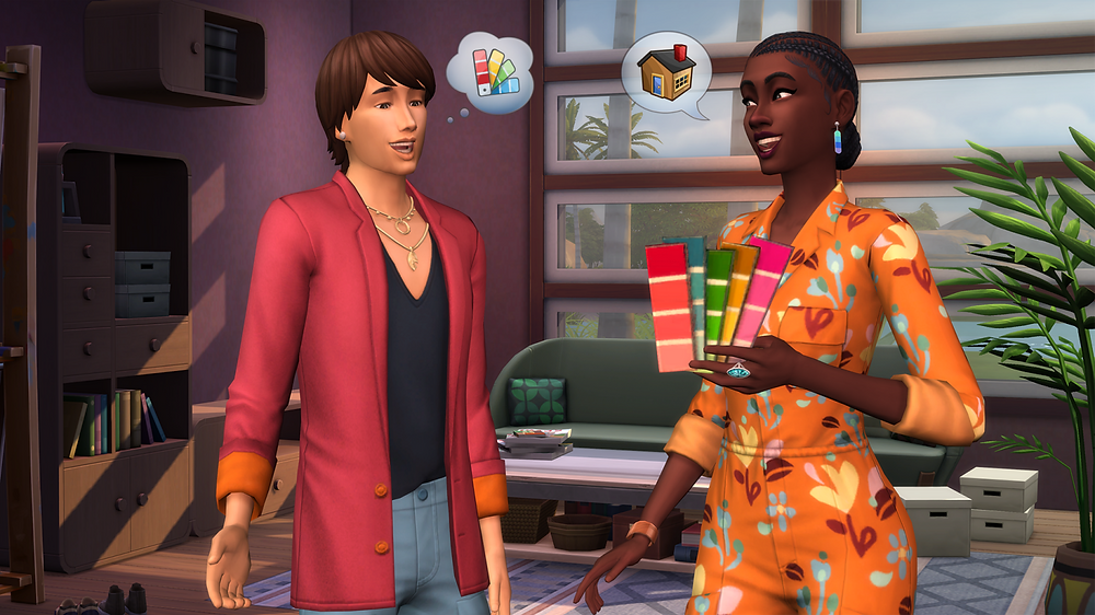 Two Sims, discussing interior decoration to highlight The Sims 4: Dream Home Decorator Game Pack.