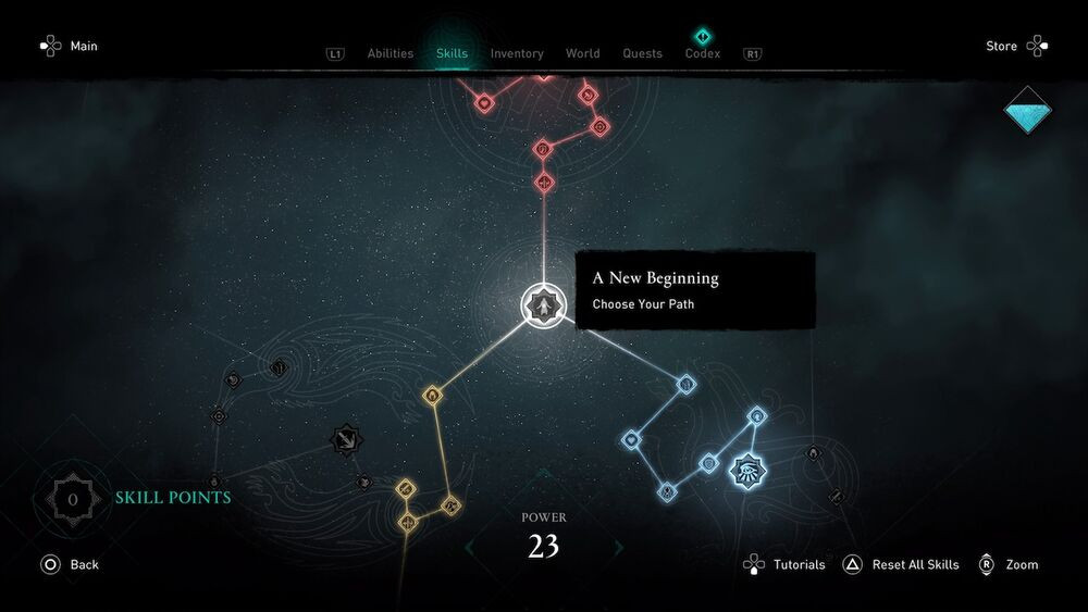A screen cap of the beginning of the skill tree in Assassin's Creed: Valhalla, featuring the Fate at the start. Taken from the AC: Valhalla Wiki page.
