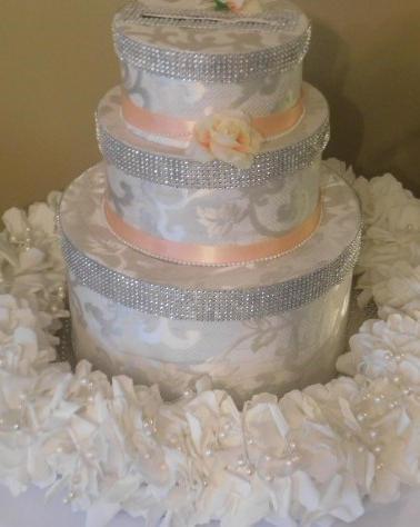 Fabric Cake Card Box with Cream Foam Flo