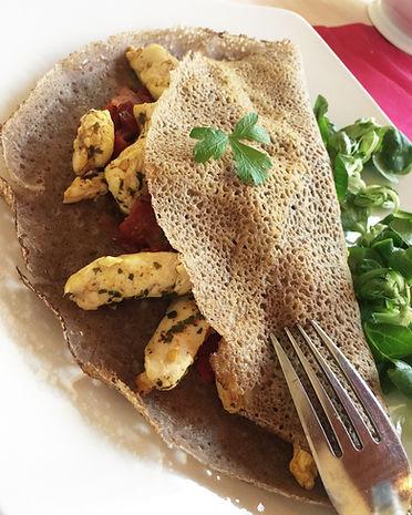 galette de sarrsin aux poulets basquaise sans gluten healthy sans matiere grasse
