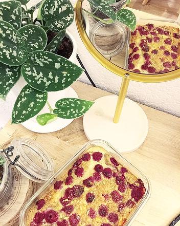 Clafoutis framboise pomme banane sans lactose et sans gluten léger express facile