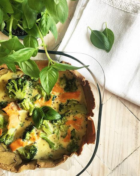 quiche healthy sans gluten aux légumes truite ou saumon fumé sans lactose sain et rapide végétarien