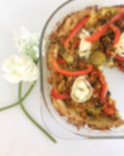 Pizza sans pâte sans gluten sans lactose vegetarien bolognaise chèvre