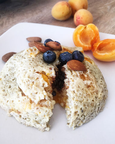 bowlcake flocon d'avoine sans lactose chocolat amande myrtille aux abricots