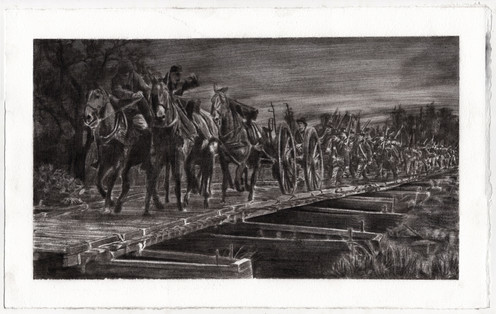 Sherman's Army Crossing a Pontoon Bridge over Ebenezer Creek