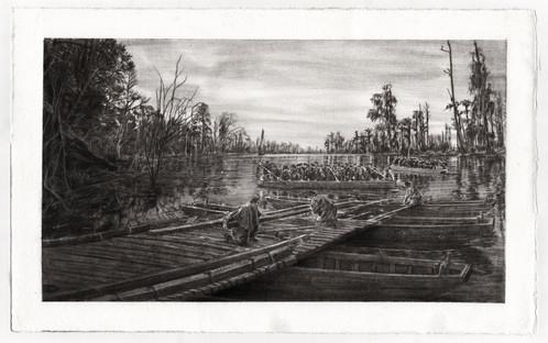 Dismantling the Pontoon Bridge at Ebenezer Creek