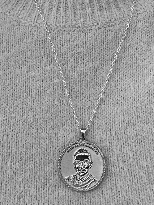 SCOTUS Ruth Bader Ginsburg Sterling Silver Necklace