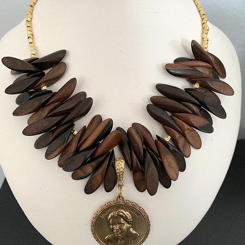 Harriet Tubman Brass & Mahogany Necklace