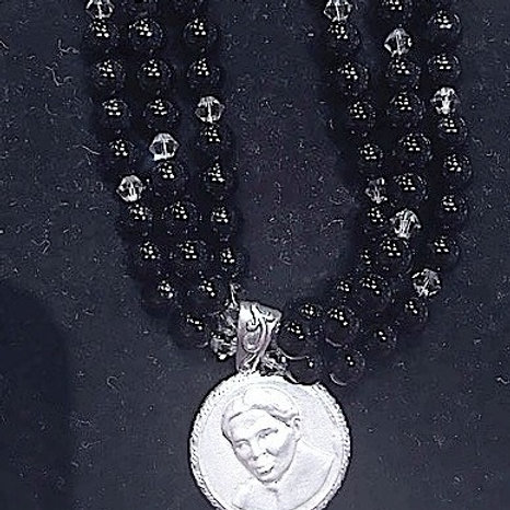 Black Onyx & Crystal Harriet Tubman Necklace