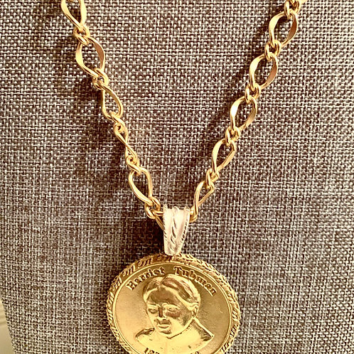 Harriet Tubman Brass Hollow Necklace