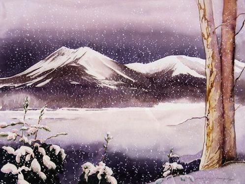 Snow Falling on Katahdin