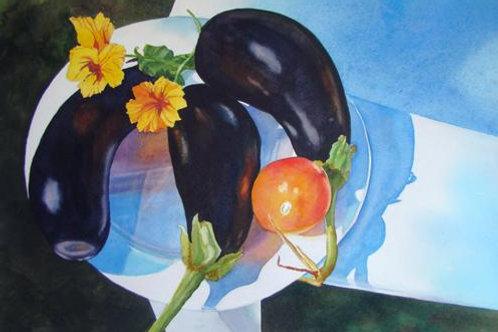 Black Beauties in a Maine Garden SOLD