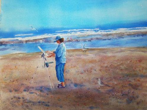 Artist at the Beach, Maine
