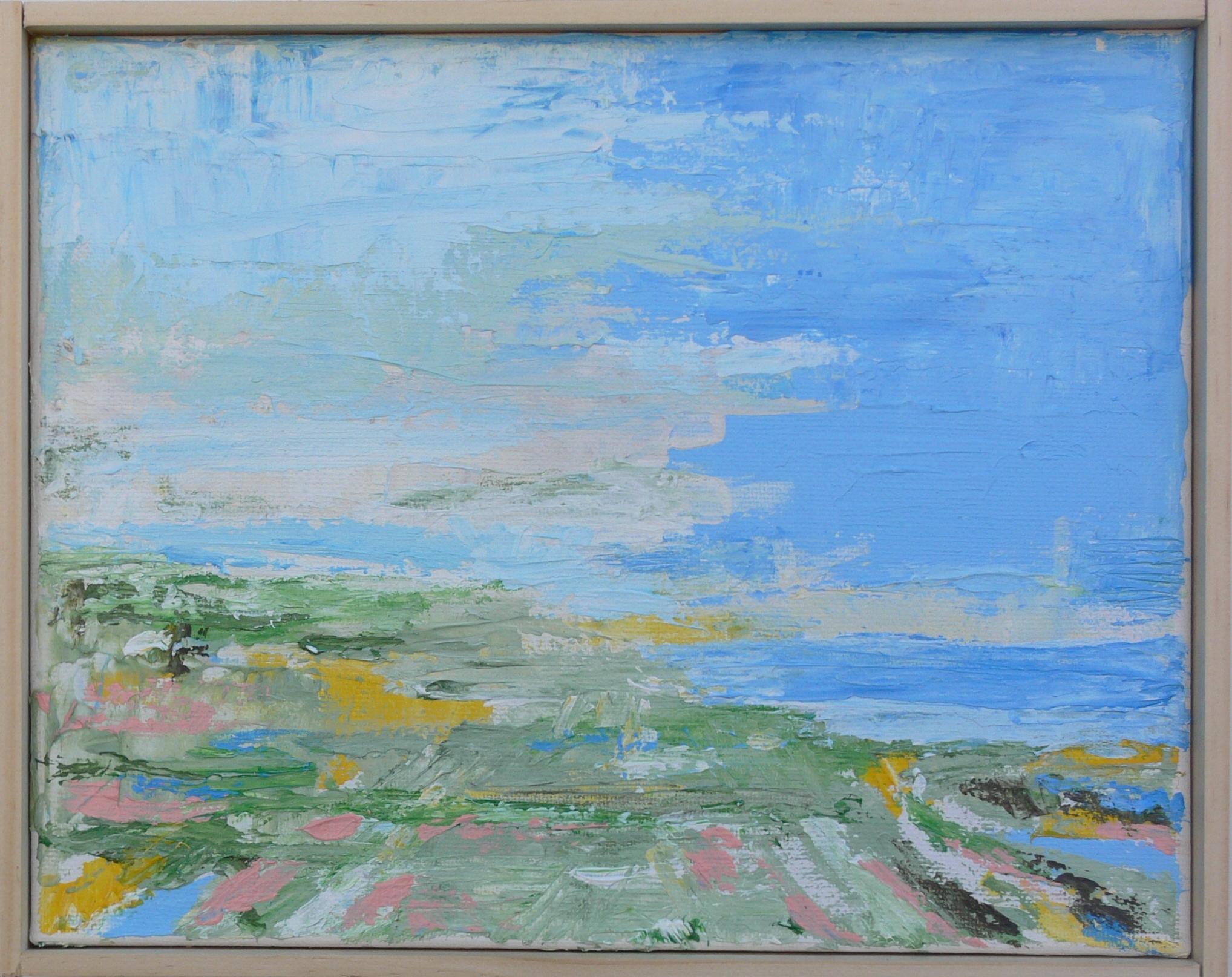 Plain to Sea, Greyish Sky, Acrylic  on Canvas, 8x10in