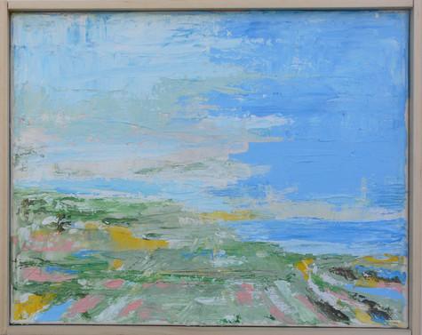 Plain to Sea, Greyish Sky, Acrylic  on Canvas, 8x10in.jpg