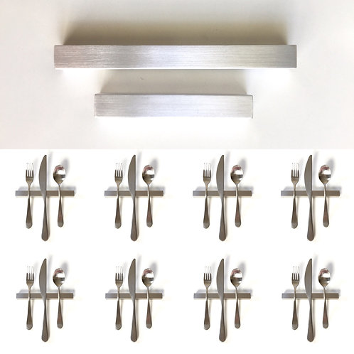 Set of 8 — 6 Inch Solid Aluminum Square Bar Uplifts