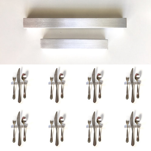 Set of 8 — 4 Inch Solid Aluminum Square Bar Uplifts