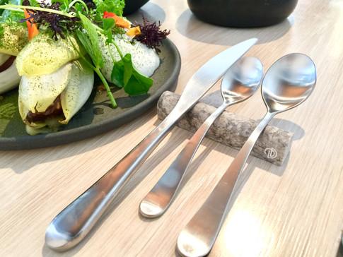 4 Inch Silver-Pewter Travertine Flatware Rests