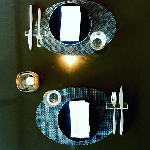Clear Lucite 4 Inch Rounded Flatware Rests