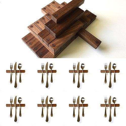 Set of 8 — 6 Inch Black Walnut Rectangle Uplifts