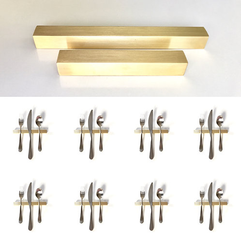 Set of 8 — 6 Inch Solid Brass Square Bar Uplifts — Over 1/2 lbs. Each