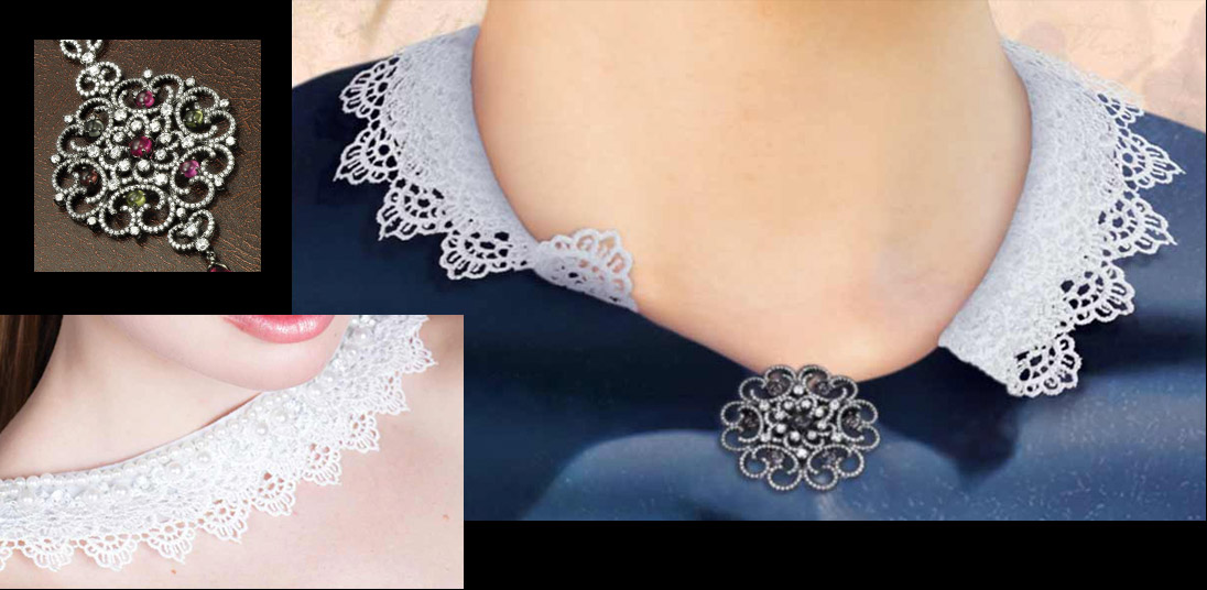 Lace and Brooch added to Collar