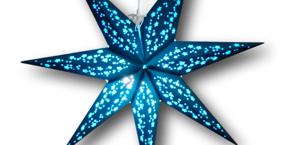 biodegradable star lantern with 7 points in teal colour and light blue on inside