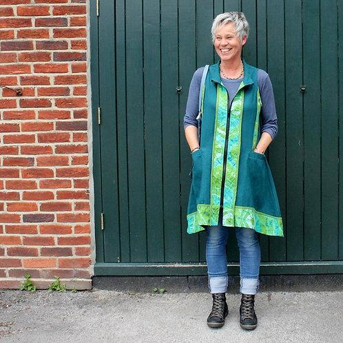 Long zip tunic in nettle