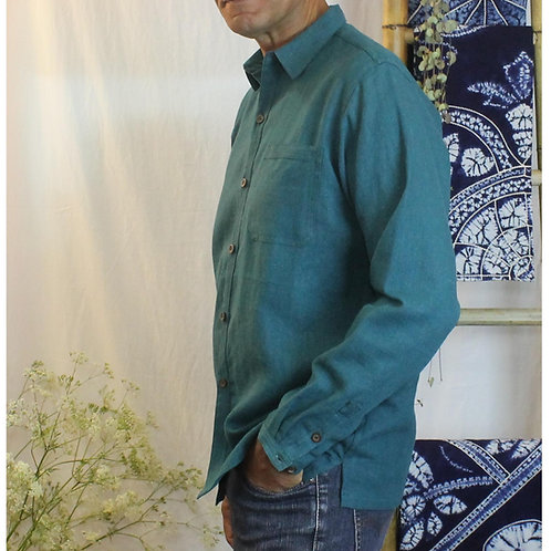 Full button collared shirt in nettle