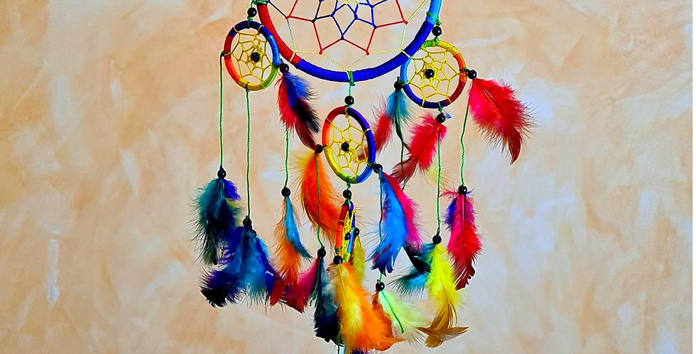 Colourful hanging ring with netting in the middle. Smaller rings and feathers attached to it. Rainbowcolours