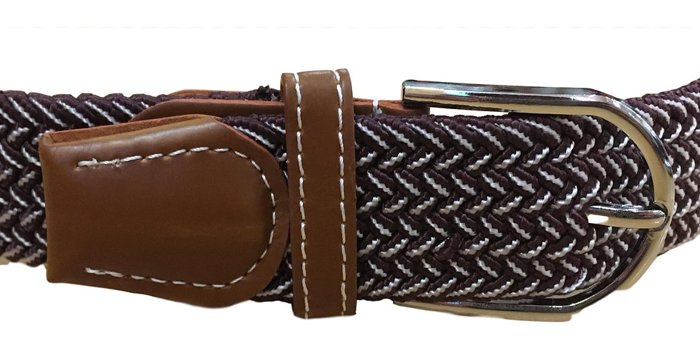 Stretchy belt in brown/cream