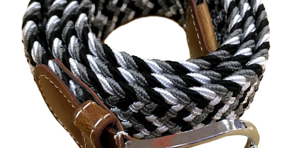 Stretchy belt in black/grey/cream