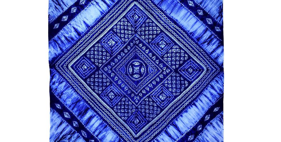 Large size indigo tie-dye fabric