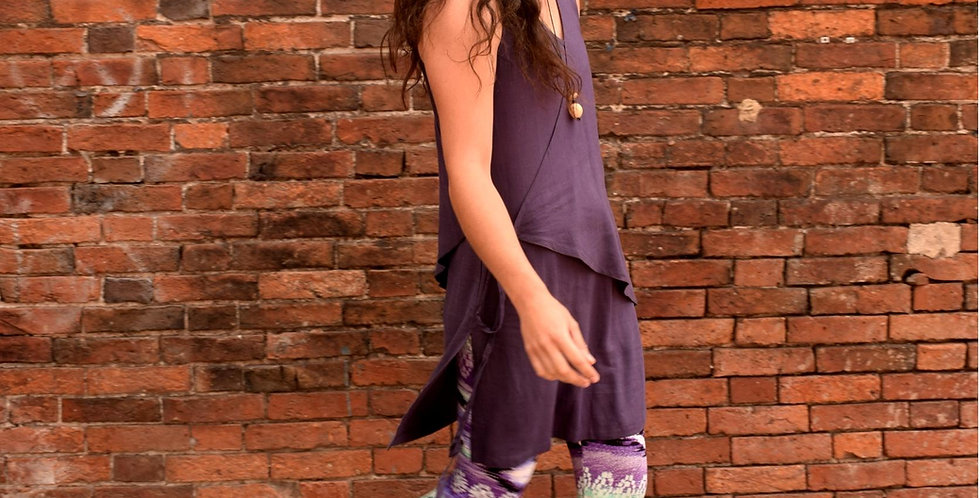 Summer tunic tie top in a nettle/cotton