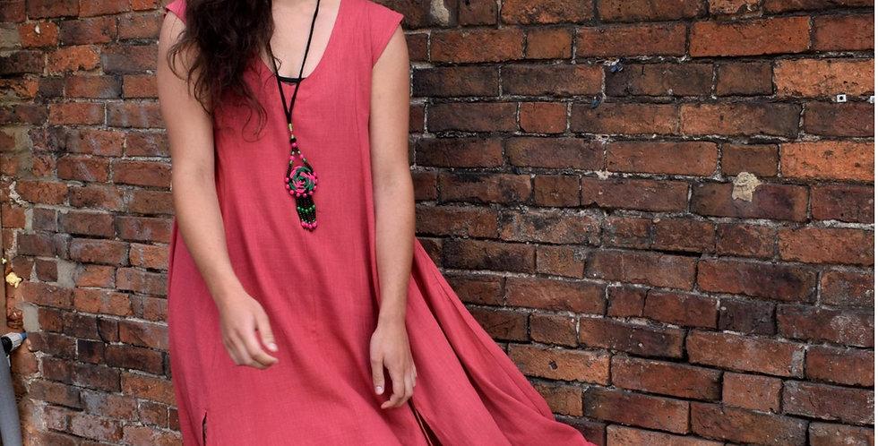 Pointy dress in linen blend