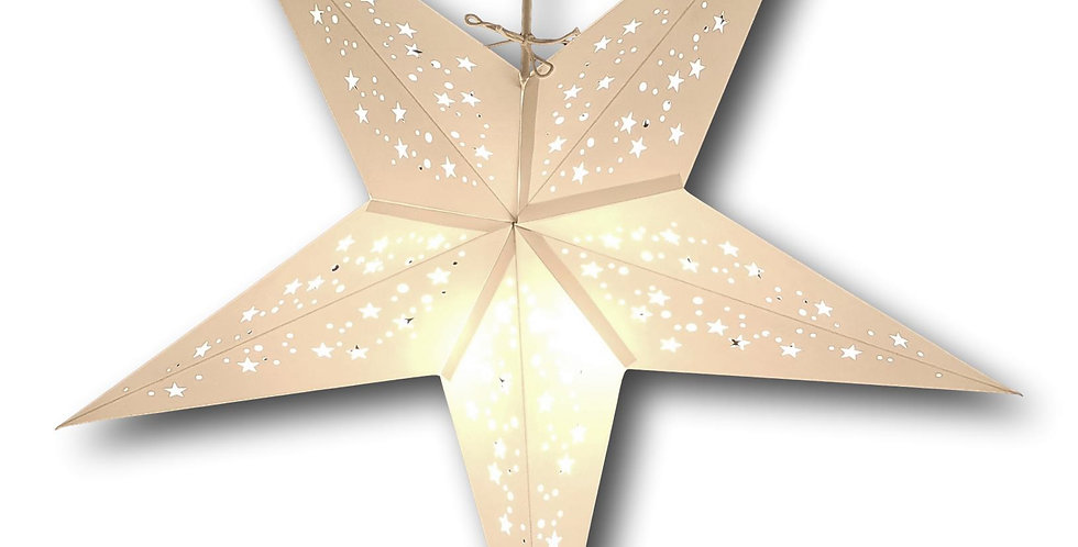 Fairtrade paperstar lantern for ceiling light in white from India