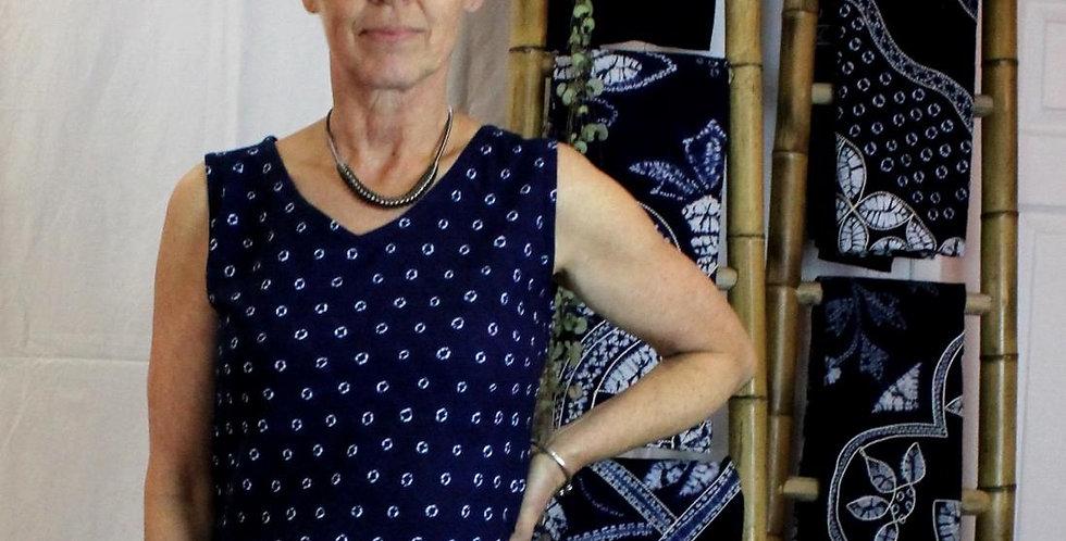Indigo tie-dye shift dress cotton