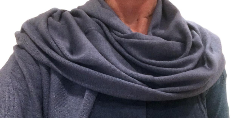 merino/cashmere scarf stole in steel blue
