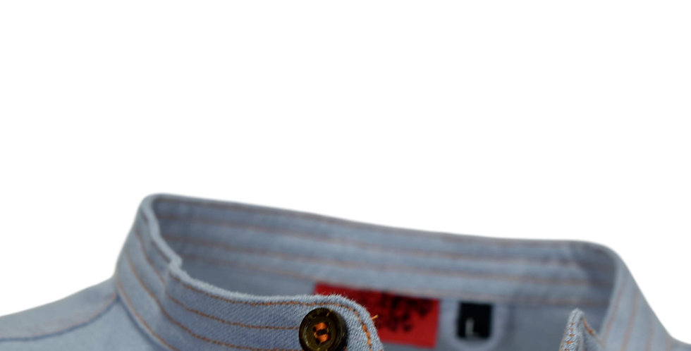 Detail of contrast stitching on standing collar, aka Nehru collar