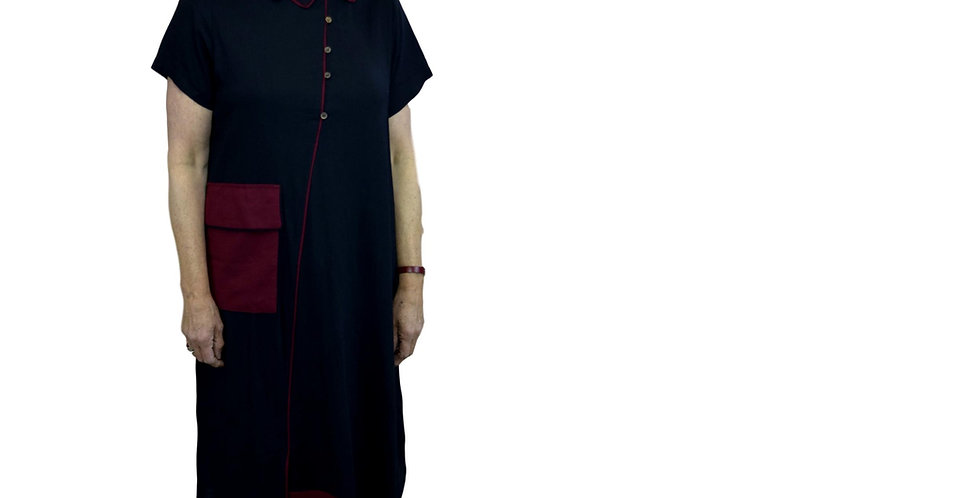 Asymmetric shirt-dress in nettle blend