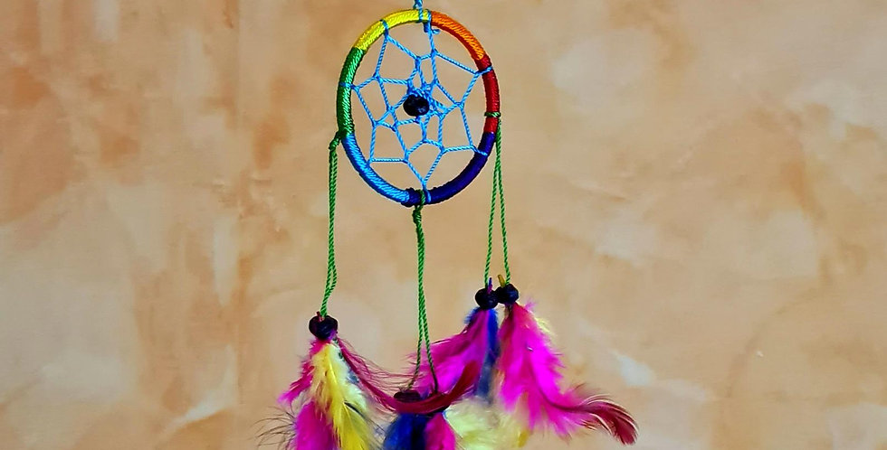 Small hanging ring wrapped in rainbow coloured yarn. With 3 colourful strings of feathers attached to it. Fairtrade.