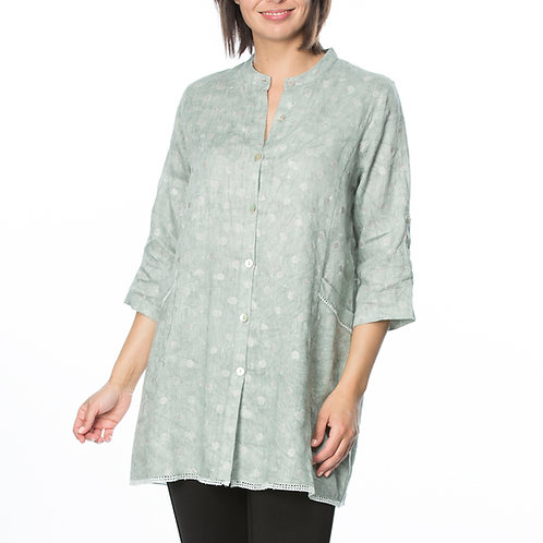 METALLIC SPOT WASHED LINEN OVERSHIRT