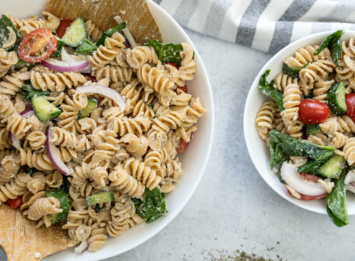 Vegan Cold Pasta Salad with OIL FREE Dressing - GF