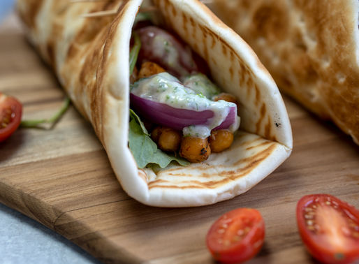 Vegan Gyros with Homemade Tzatziki Sauce & Roasted Chickpeas