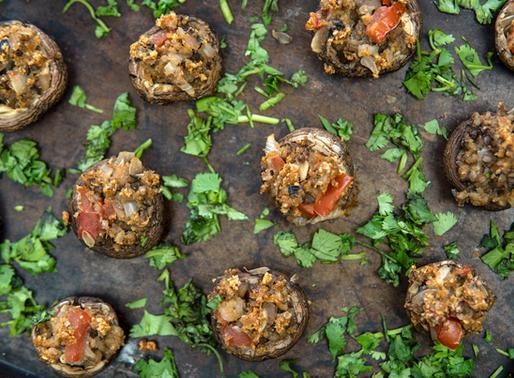 Vegan Stuffed Mushrooms - Oil free & GF - 30 minute meals