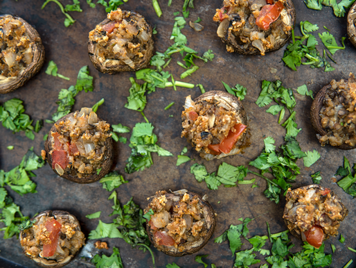 Vegan Stuffed Mushrooms - Oil free & GF - 30 minute meals