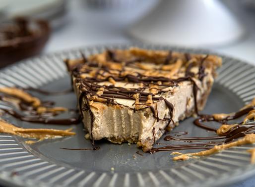 No Bake Vegan Peanut Butter Pie - oil free, gf, no refined sugar