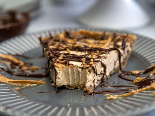 No Bake Vegan Peanut Butter Pie - oil free, gf, no refined sugar