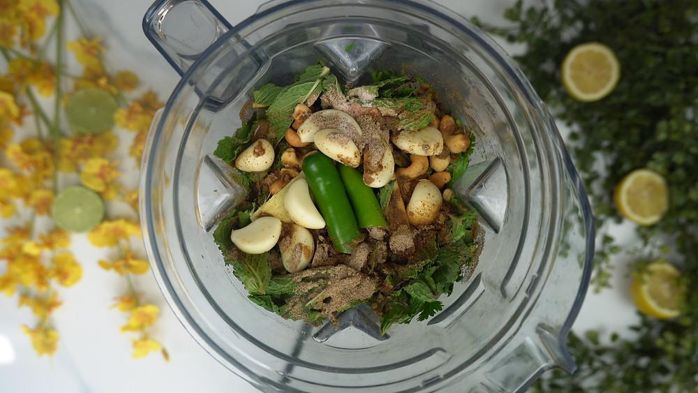 Easy Coriander Mint Chutney & Coconut Chutney