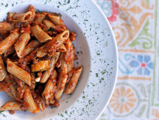 Pasta with Beef-less Beef Sauce